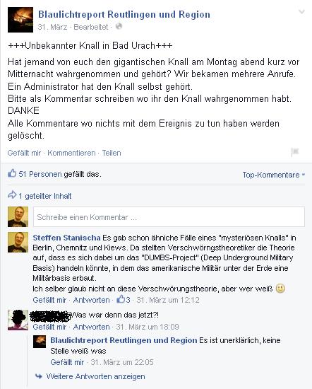 """Facebook-Posts über einen mysteriösen Knall. """"Underground-Secrets""""-Gründer Steffen klärt auf"""