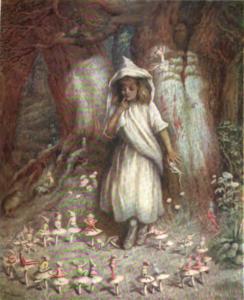 """Das Aquarell von Kate Greenaway: """"The Elf Ring"""" von 1905 zeigt Elfen"""